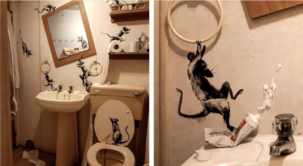 Confiné, Banksy réalise une nouvelle oeuvre… dans sa salle de bains !