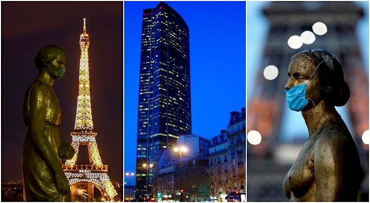 La Tour Eiffel et la Tour Montparnasse s'illuminent simultanément en hommage aux soignants !