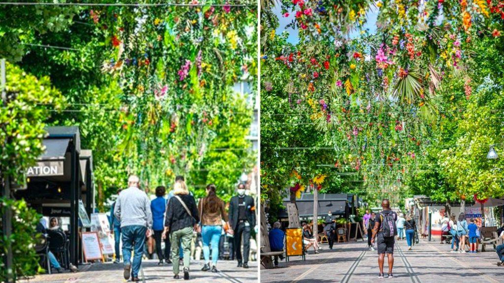 Paris : pour l'été, Bercy Village se pare d'un magnifique ciel de fleurs !