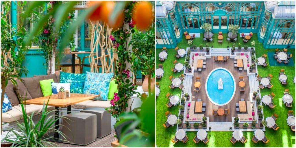 À Paris, une splendide terrasse d'été cachée s'installe dans la cour d'un hôtel !