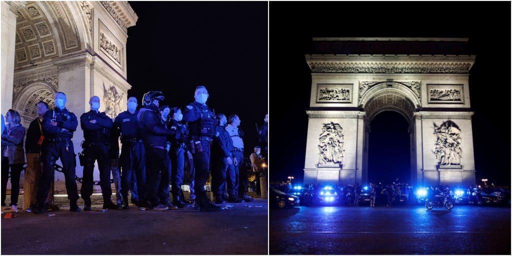 Paris : Manifestation nocturne de policiers devant l'Arc de Triomphe !