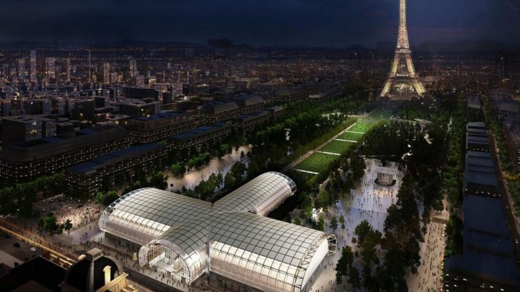 Un Grand Palais éphémère est en construction au pied de la Tour Eiffel !
