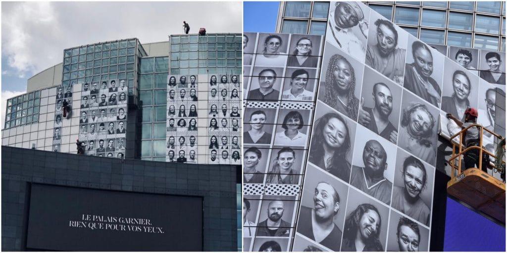 L'Opéra Bastille recouvert de 500 portraits de soignants, en collaboration avec JR !