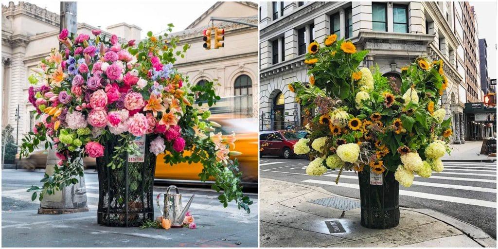 À New York, ce fleuriste décore les poubelles avec des fleurs !