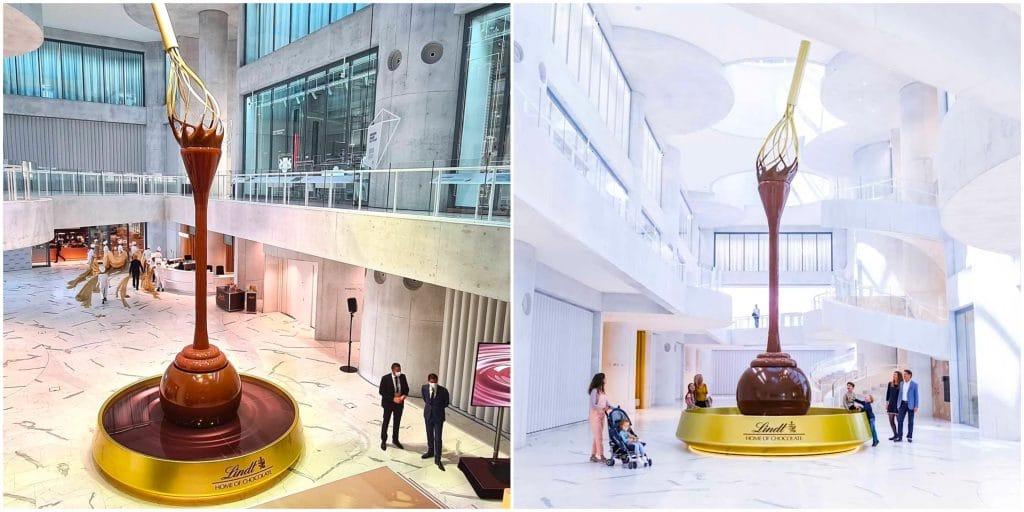 Lindt inaugure une gigantesque fontaine de chocolat de 9 mètres de haut !