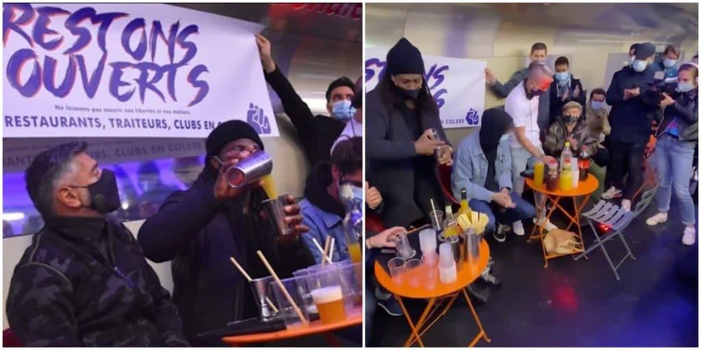 Paris : pour protester, des patrons de bistrots installent un bar éphémère dans le métro !