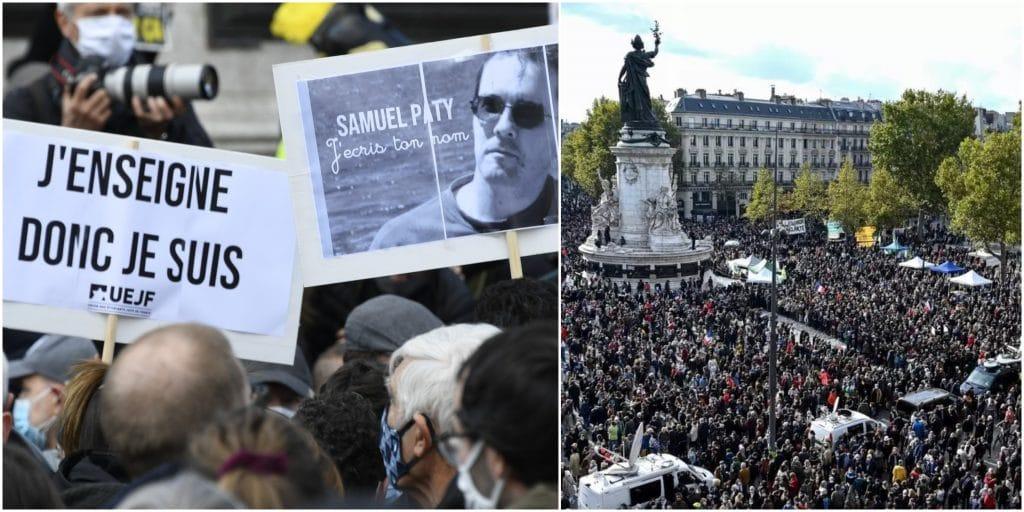 Paris : des milliers de personnes réunies place de la République en hommage à Samuel Paty !
