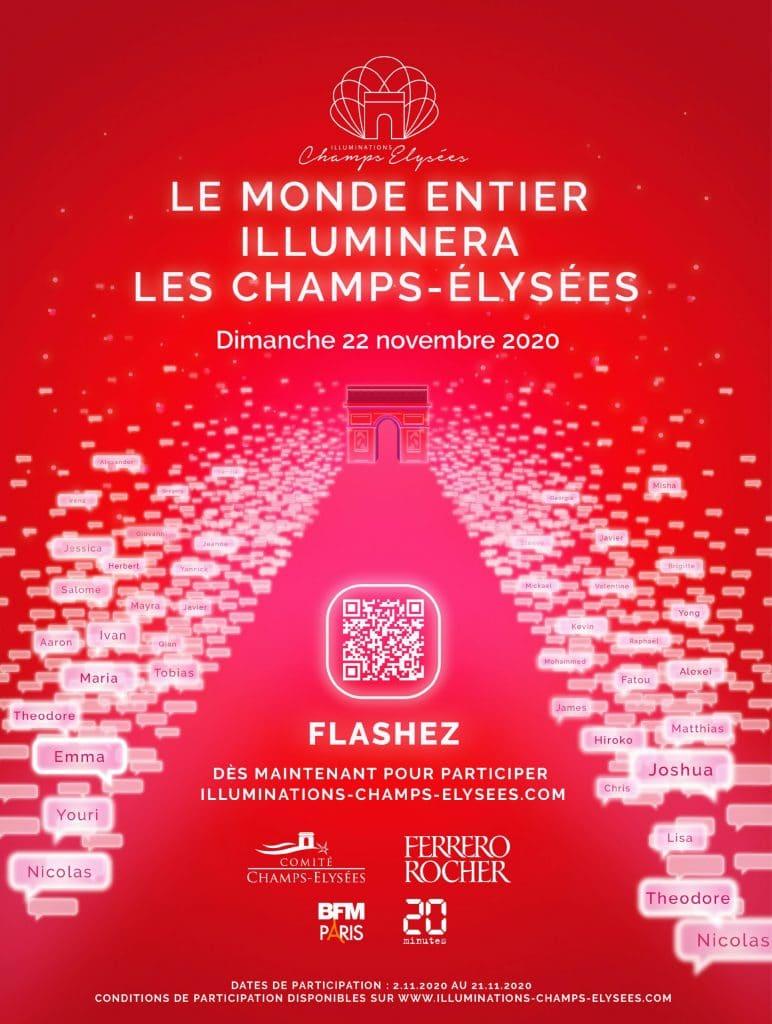 Pour la première fois illuminations de Noël des Champs Elysées en ligne