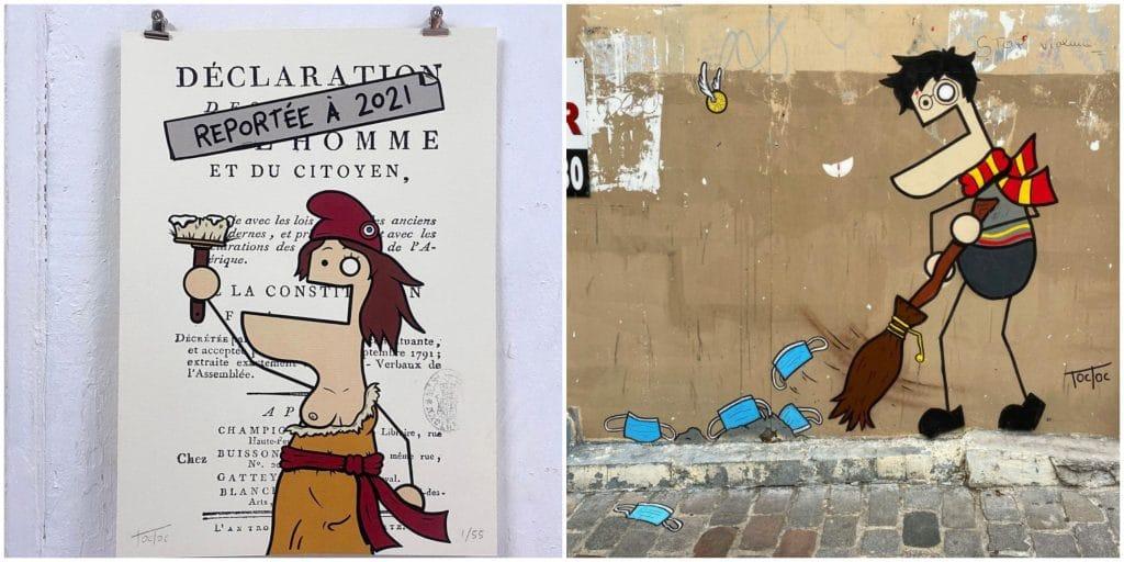 Street art Paris TocToc vandalise attestations déplacement