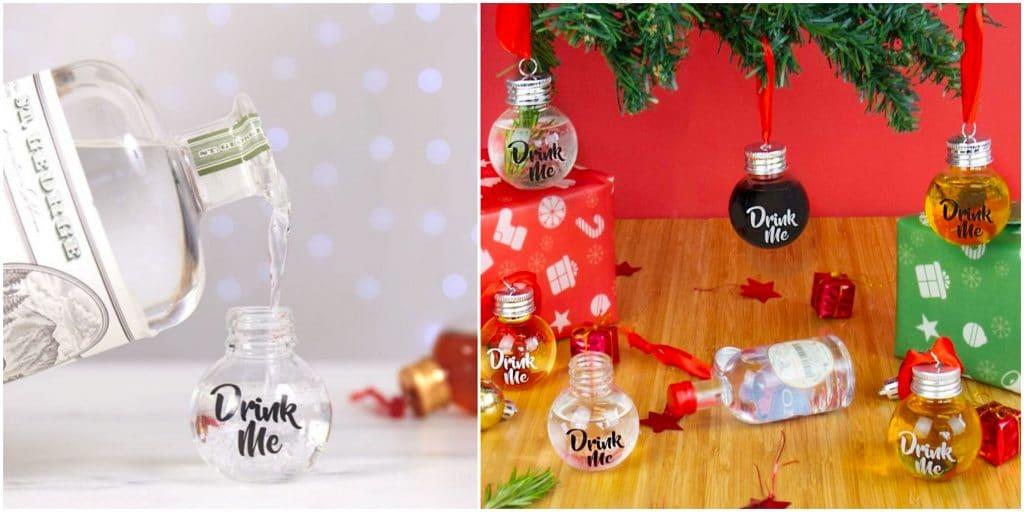 Insolite Boules de Noël flasques à remplir sapin
