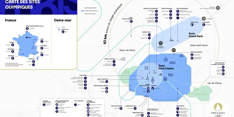carte jeux olympiques 2024 paris sites lieux épreuves france