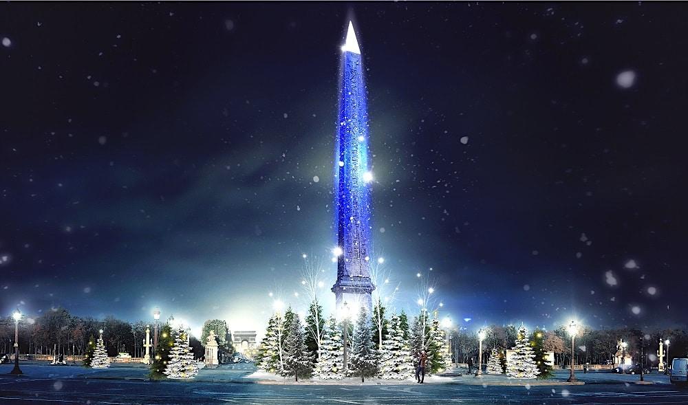Noël : l'obélisque de la place de la Concorde se pare d'une pluie de flocons lumineux !