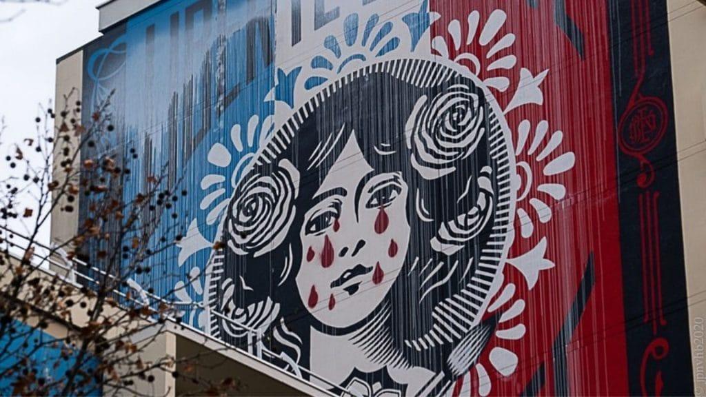 marianne pleure larmes rouges graff street art shepard fairey obey giant paris 13eme arrondissement
