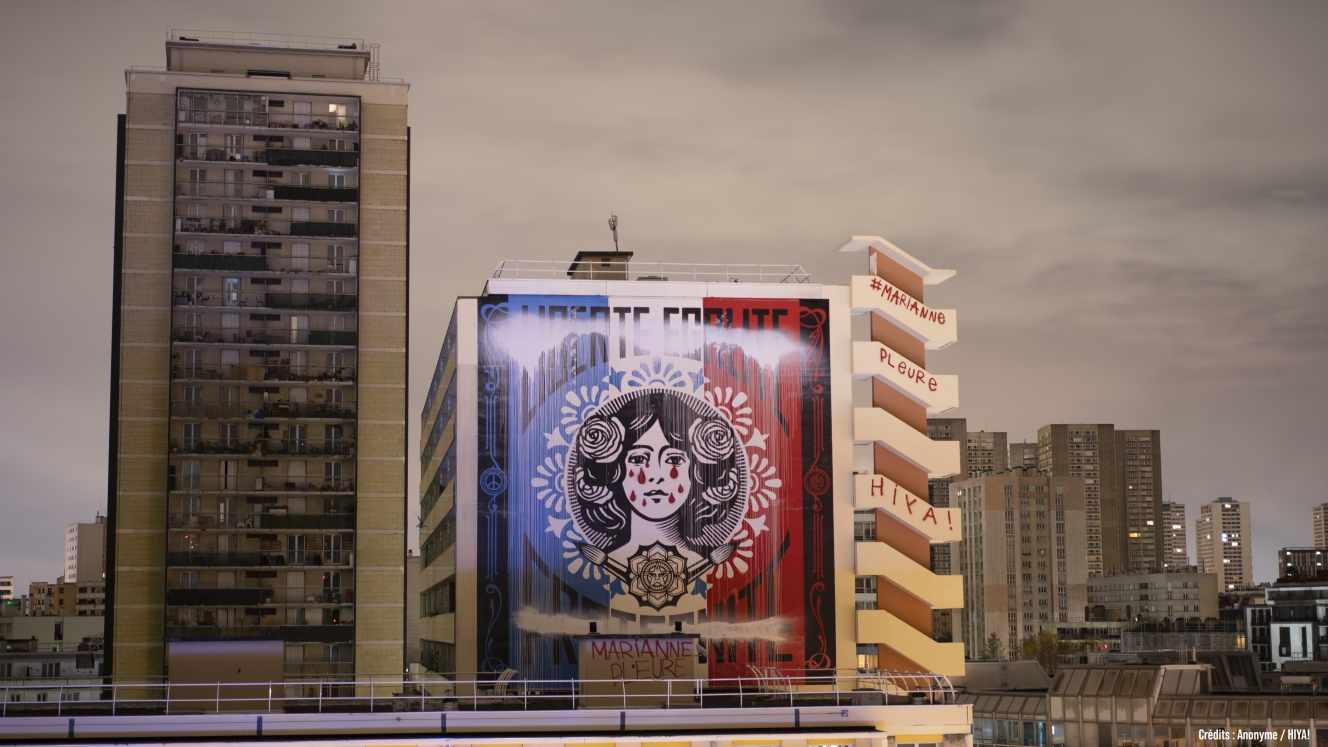 marianne pleure paris 13eme street art shepard fairey obey
