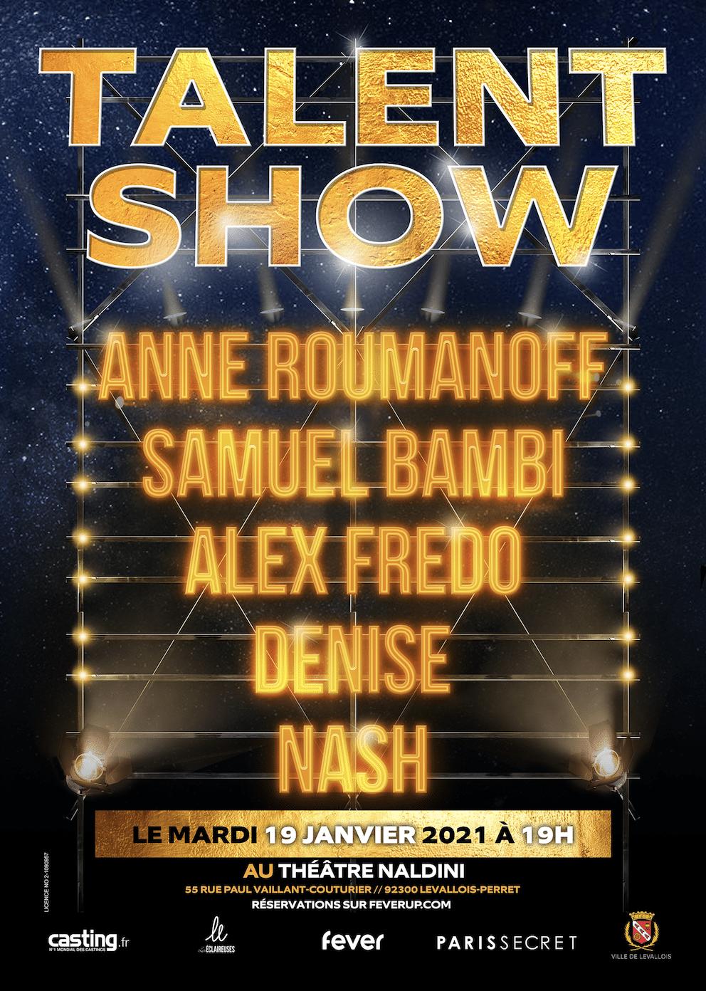 Affiche Talent Show productions paris levallois perret humour comedy club