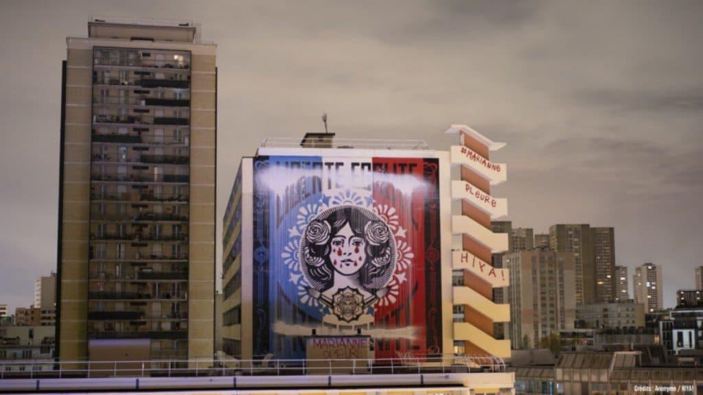 marianne qui pleure shepard fairey obeygiant 2021 13ème arrondissement street art