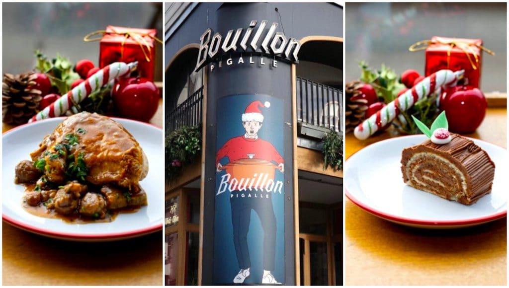 Bouillon Pigalle Paris Menu de fêtes 18€ Noël Nouvel an