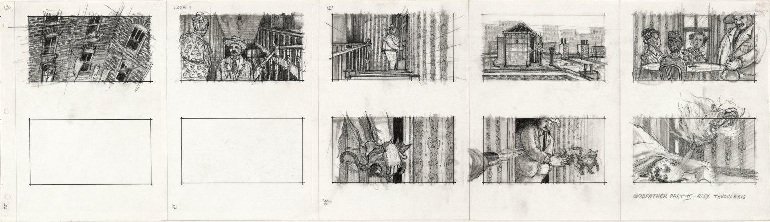 alex-tavoularis-godfather-part-ii-1973-planche-de-storyboard-sur-papier-en-noir-et-blanc-crayon-graphite-et-feutre.-collection-cinémathèque-française-©-alex-tavoularis drawing lab paris tout un film exposition
