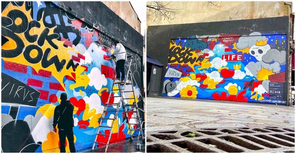 Le Mur Oberkampf Paris 1er mur 2021 retrace l'année 2020 street art PIOTRE