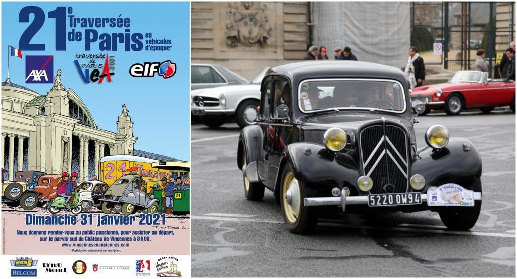 21ème Traversée de Paris janvier 2021 Vincennes en Anciennes voitures collection