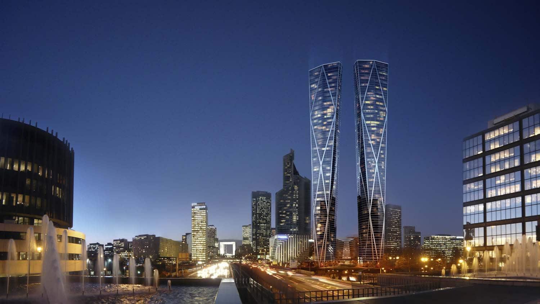 projet hermitage tours jumelles paris la défense gratte ciel building architecture illu 1