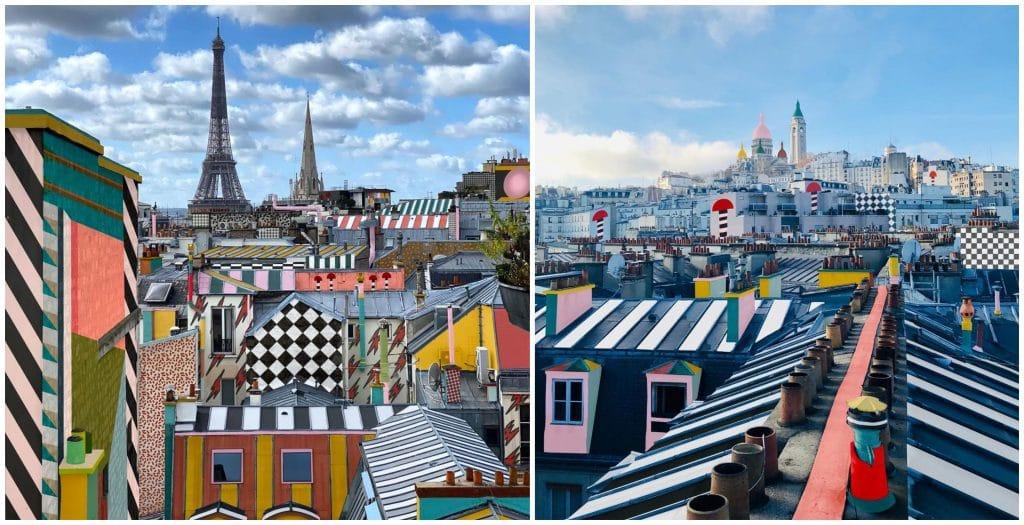 Paris Memphis photo artiste repeint colore toits façades rues de Paris