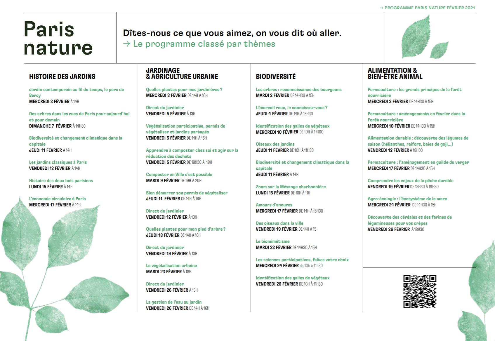 programme paris nature conférences ateliers en ligne