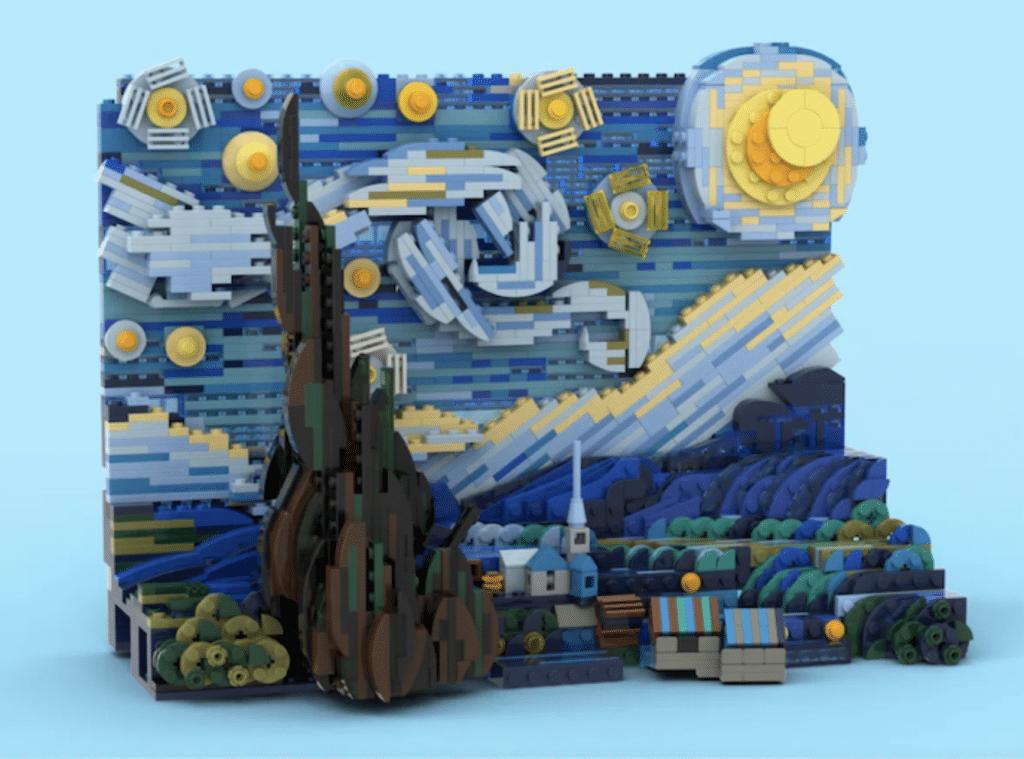 LEGO set 3D La Nuit Étoilée Vincent Van Gogh