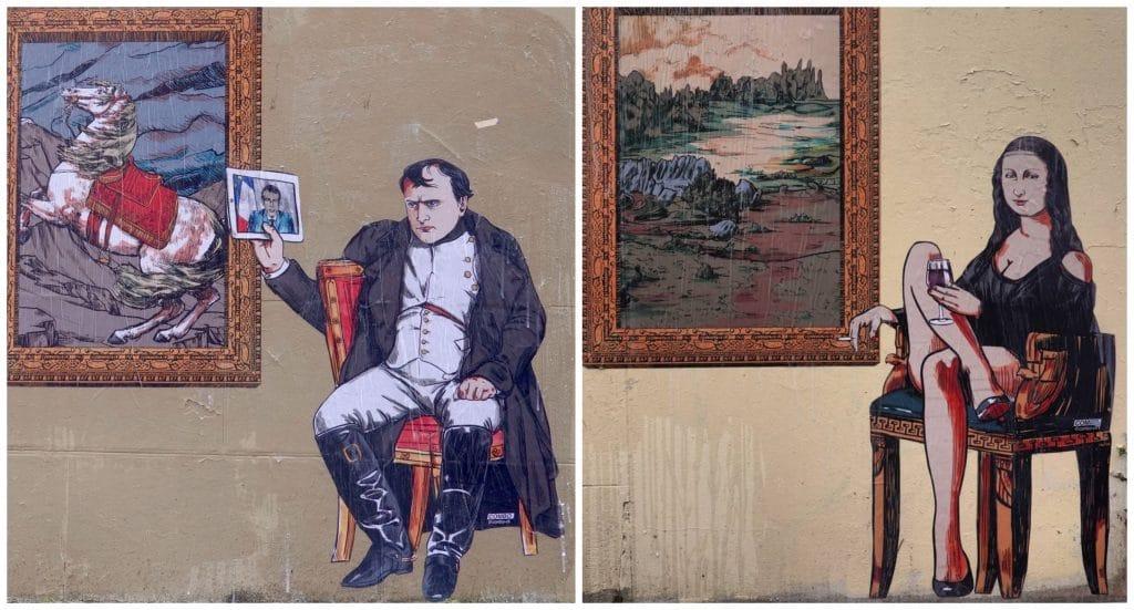 Street art Louvre fermé Napoléon et la Joconde rues de Paris mécontentement