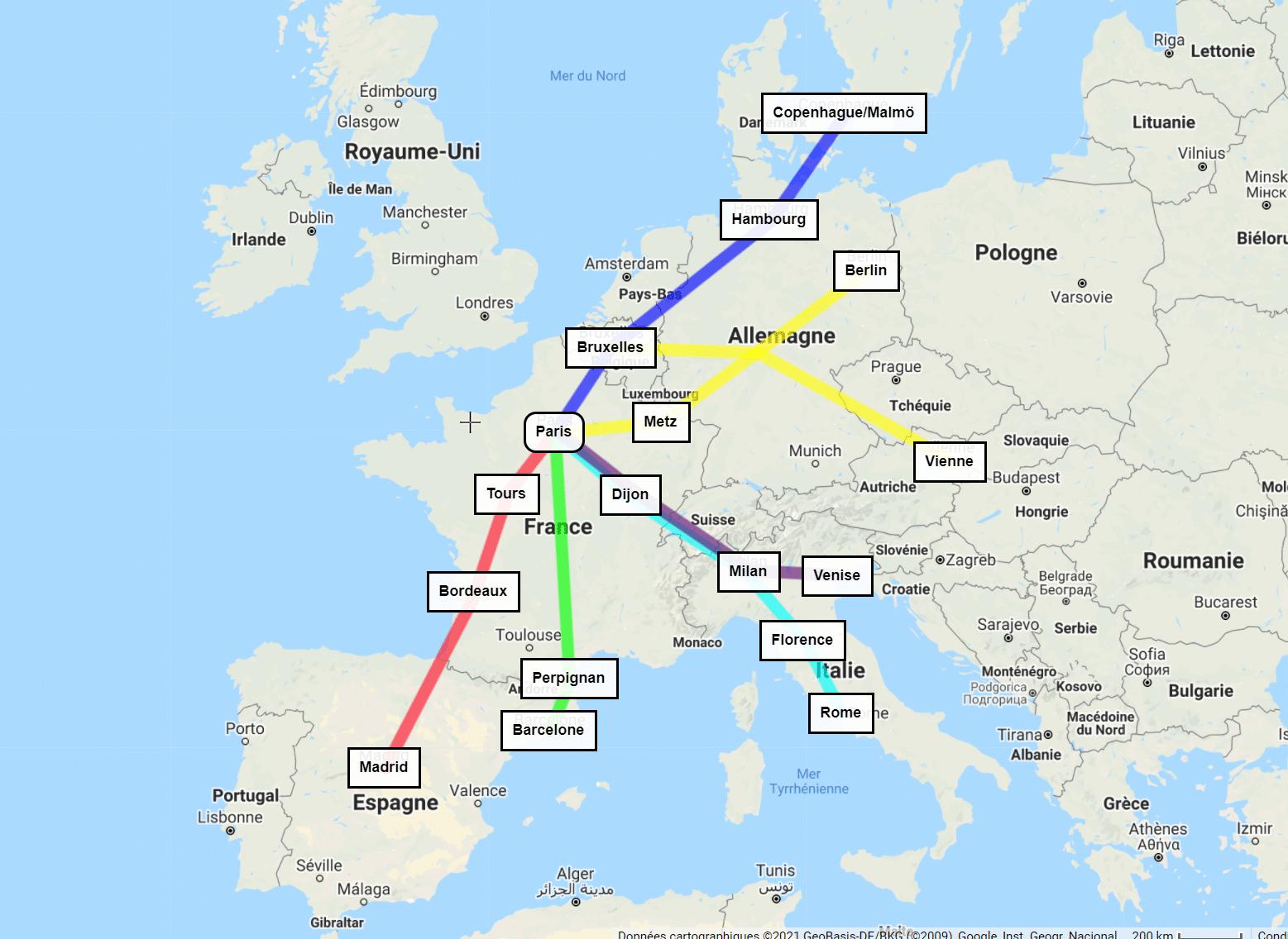 carte trains de nuit couchette paris voyage