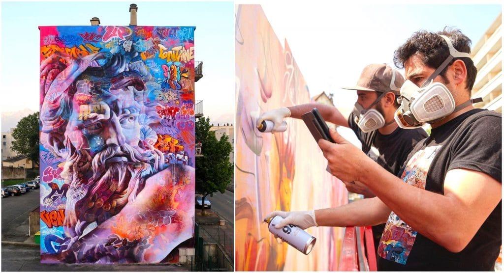 Mars 2021 réalisation en direct oeuvre de street art 180m2 Paris