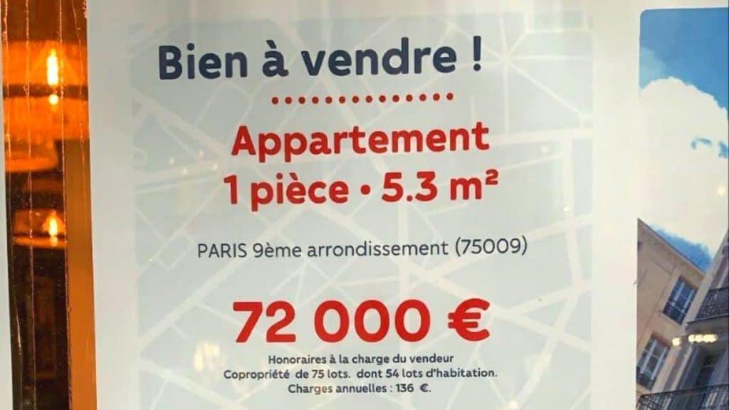 appartement vente paris 5m² 72 000 euros immobilier