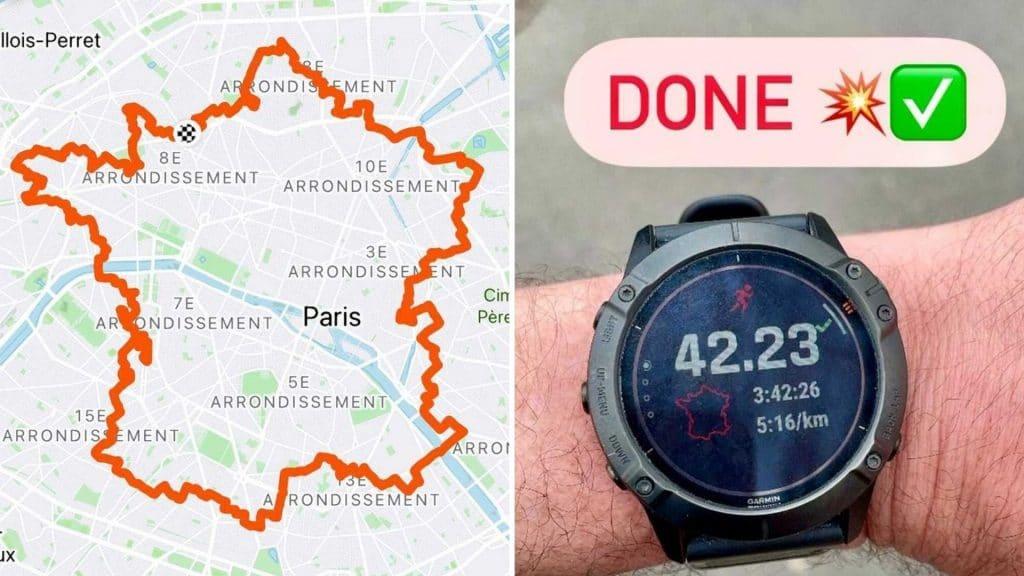 marathon paris gps carte de france course