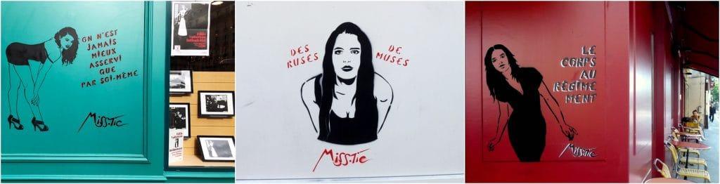 Street art Miss Tic Poétesse féministe Paris