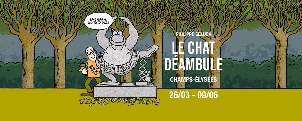 20 sculptures monumentales bronze Le Chat Geluck Paris Champs Elysées 2021
