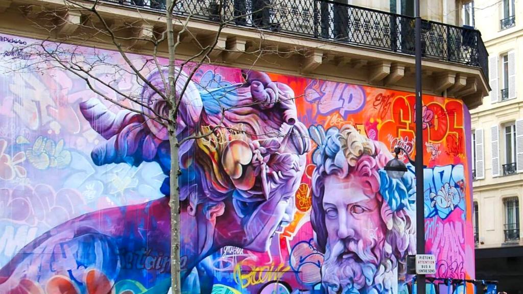 Boulevard Saint-Germain oeuvre de street art monumentale Paris 2021 Quai 36 PichiAvo