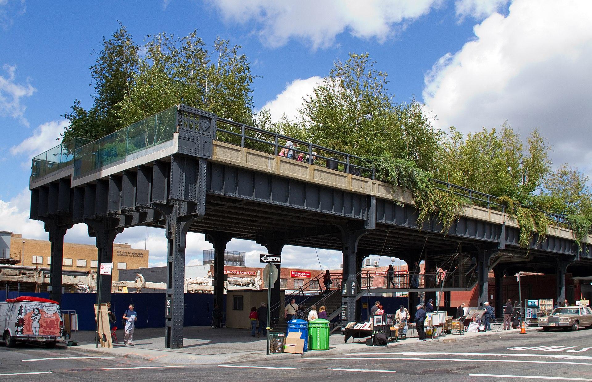 high line park new york city etats unis usa parc voie ferrée urbaine