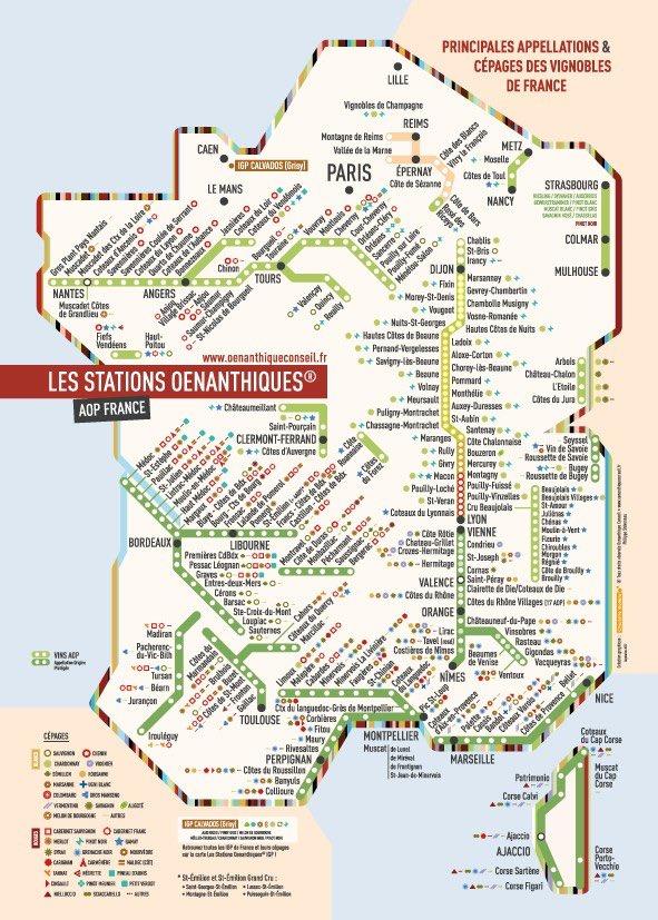 Insolite carte de Métro des vignobles français