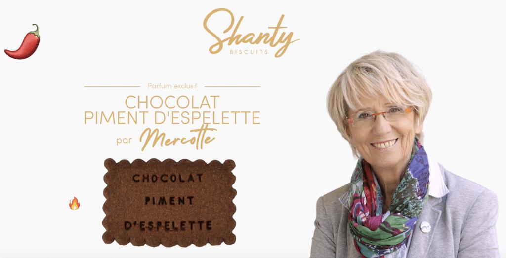 Mercotte Le Meilleur Pâtissier M6 crée biscuits chocolat piment d'Espelette Shanti biscuits
