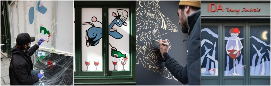 Hors d'Oeuvres 10 street artistes graffent devantures restaurants parisiens fermés Apellation Crozes-Hermitage