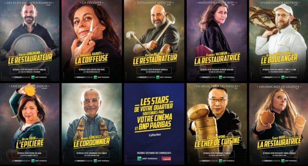 """""""Nos commerçants à l'affiche"""" BNP Paribas portraits commerçants remplacés affiches cinéma MK2 UGC Odéon"""