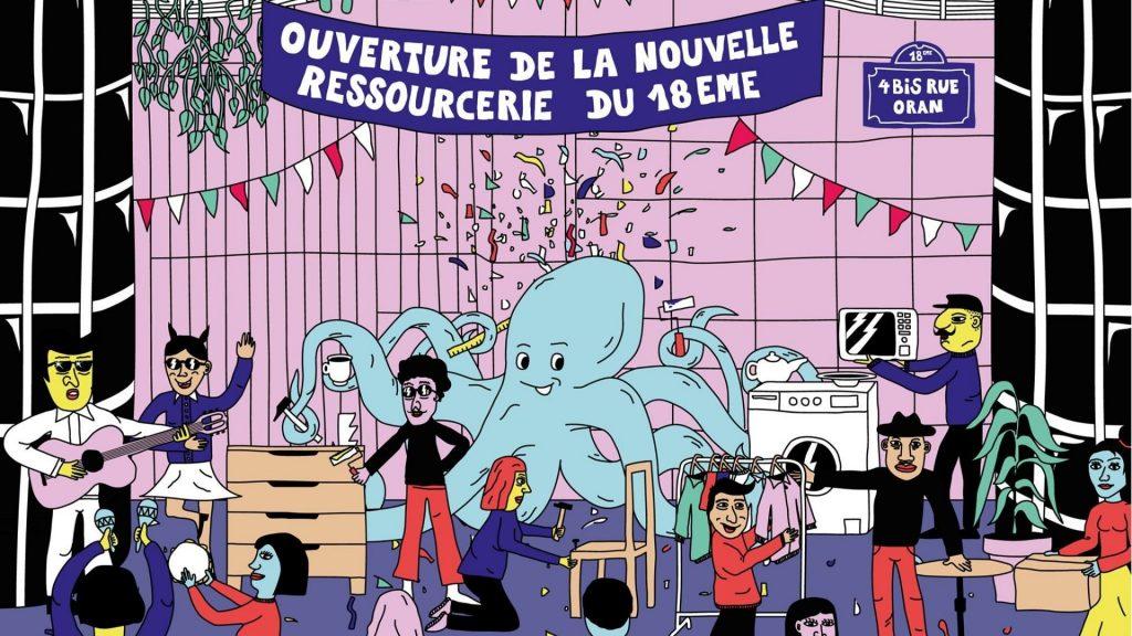 le poulpe paris ressourcerie boutique solidaire upcycling vintage ateliers écologie