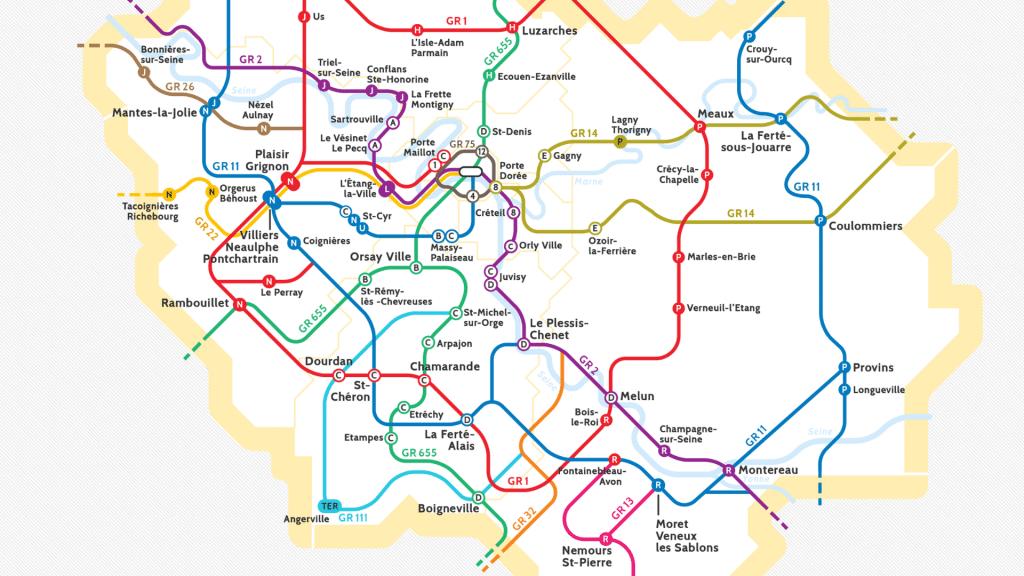 Randopolitain carte sentiers randonnées Ile-de-France accès en train et en Métro