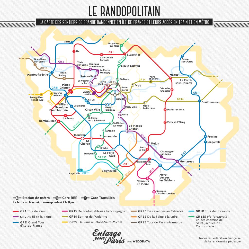 Randopolitain carte des sentiers de grande randonnée en Ile-de-France accès en train et Métro