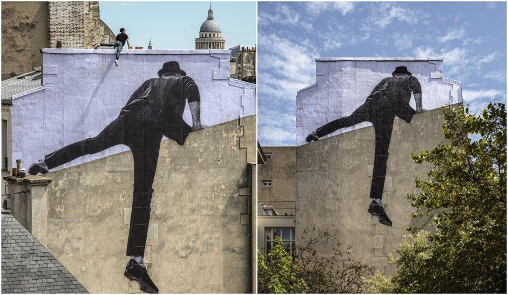 JR nouvelle oeuvre de street art No Trespassing Paris 2021
