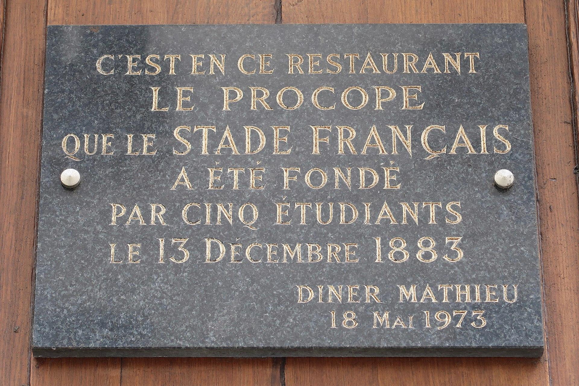 Plaque_Café_Procope stade français