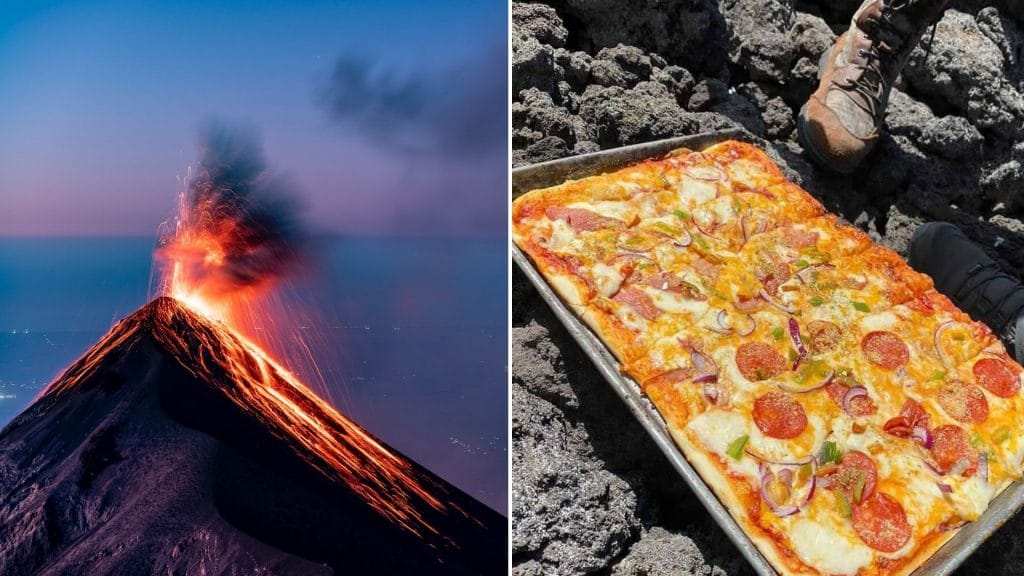 pizza pacaya volcan cuisson guatemala insolite food
