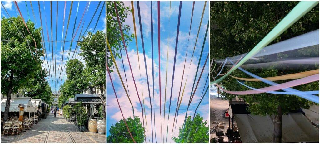 Liberté Chérie ciel de lignes colorées Bercy Village