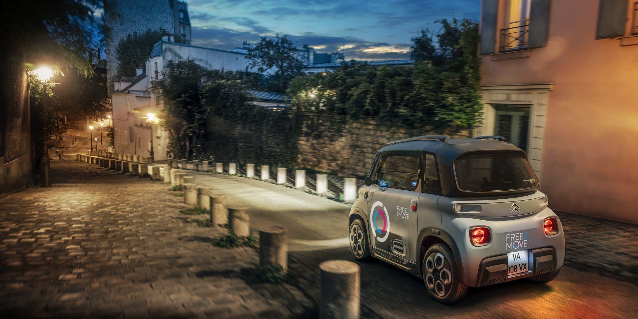 free2move paris découverte carsharing autopartage location déplacements nuit citroen ami