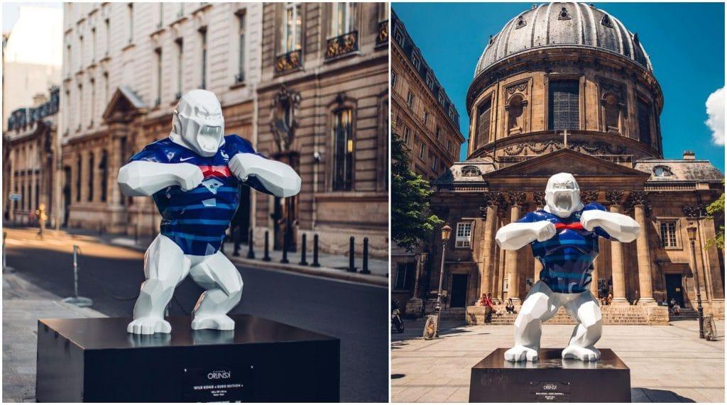 Wild Kong Euro édition expo plein air sculptures XXL Euro football Richard Orlinski